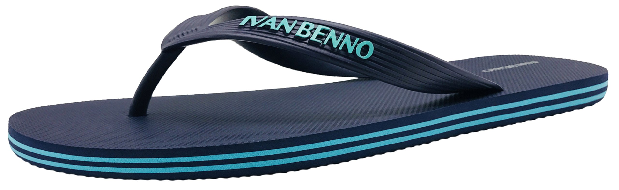 Finoceans Sport Flip Flops Sandals Mens' Tong, Navy, 8D(M)