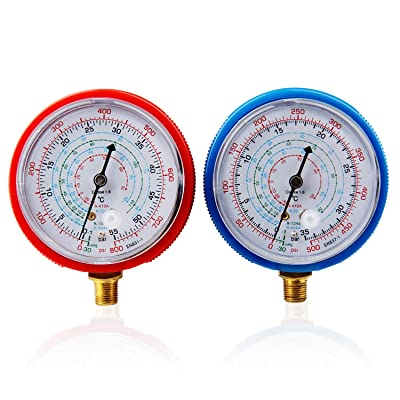 CarBole Pair Air Conditioner R410A R134A R22 Refrigerant Low&High Pressure Gauge PSI KPA: Automotive