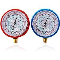 CarBole Pair Air Conditioner R410A R134A R22 Refrigerant Low&High Pressure Gauge PSI KPA