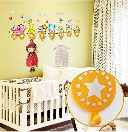 Amazon.com: BIBITIME Animal Hooks Sticker for Nursery Wall Decor ...