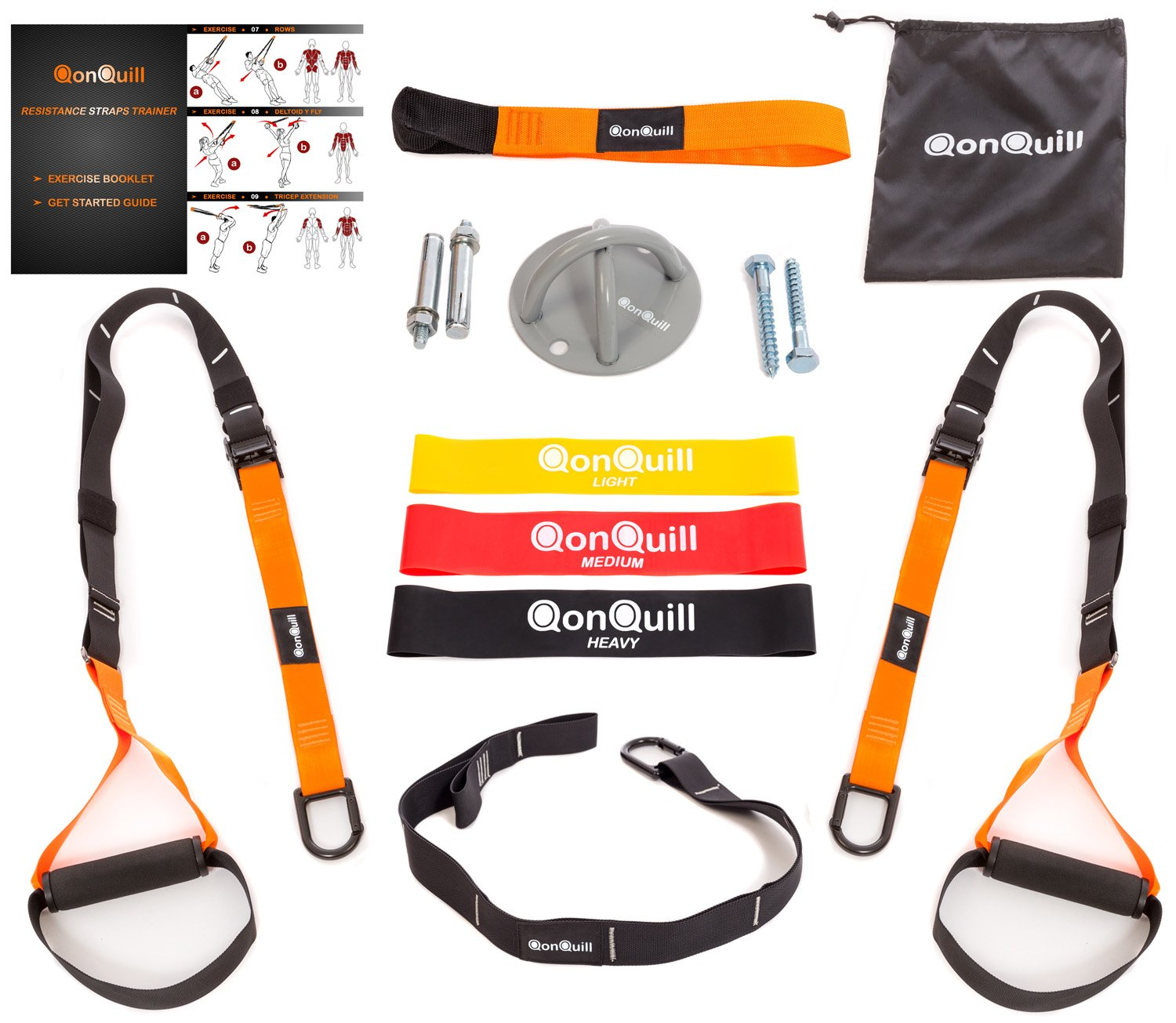 Resistance Straps Trainer Bundle | Complete BodyWeight Training Straps Kit + Wall Mount Bracket + 3 Exercise Loop Bands | Five Anchoring Solutions with Easy Setup for Home, Gym & Outdoors Workouts by QonQuill - Sport & Fitness Equipment