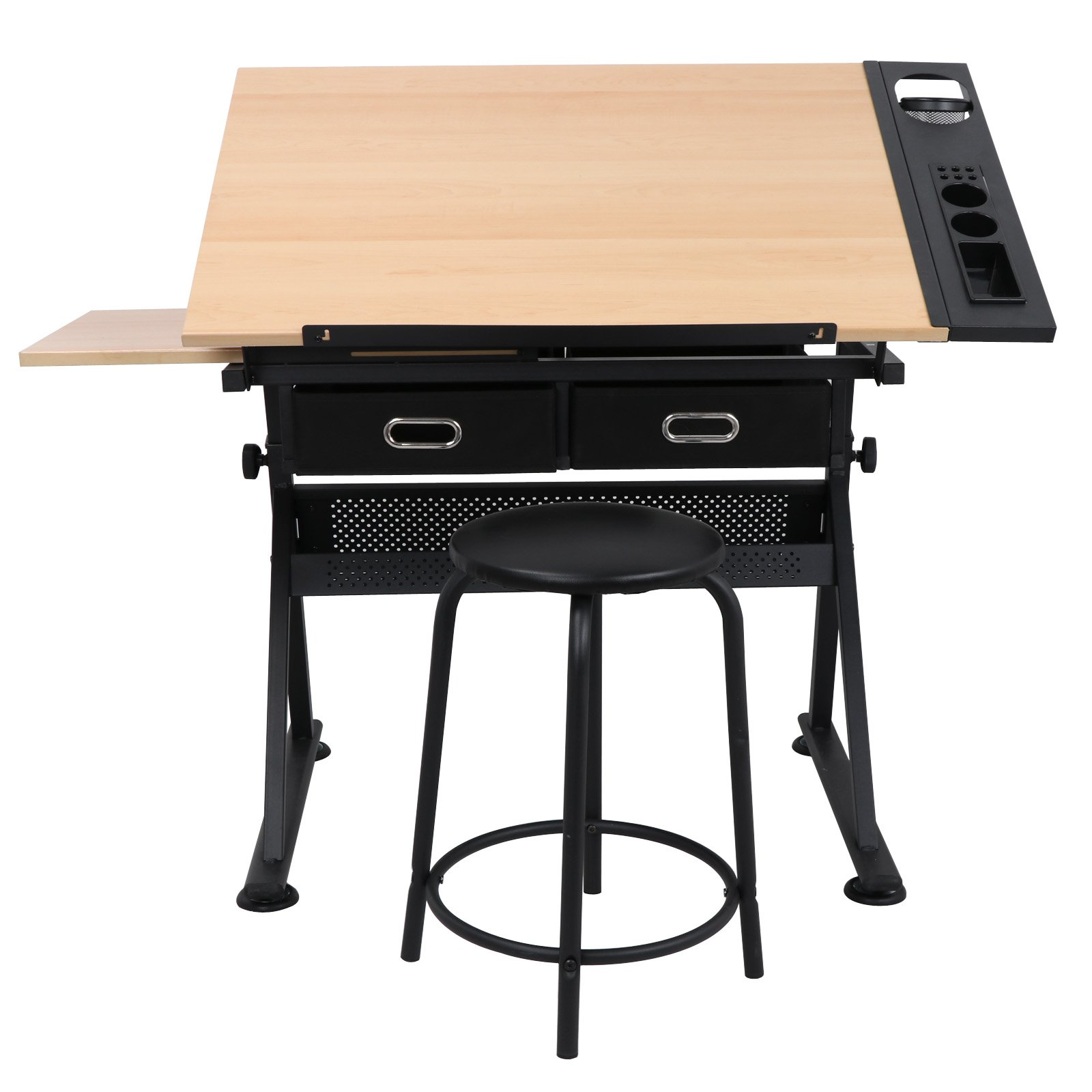 JupiterForce Adjustable Drafting Table with Storage Drawer and Stool for Reading Writing,Natural