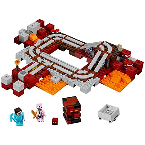 Amazon.com: LEGO Minecraft The Nether Railway 21130: Toys & Games