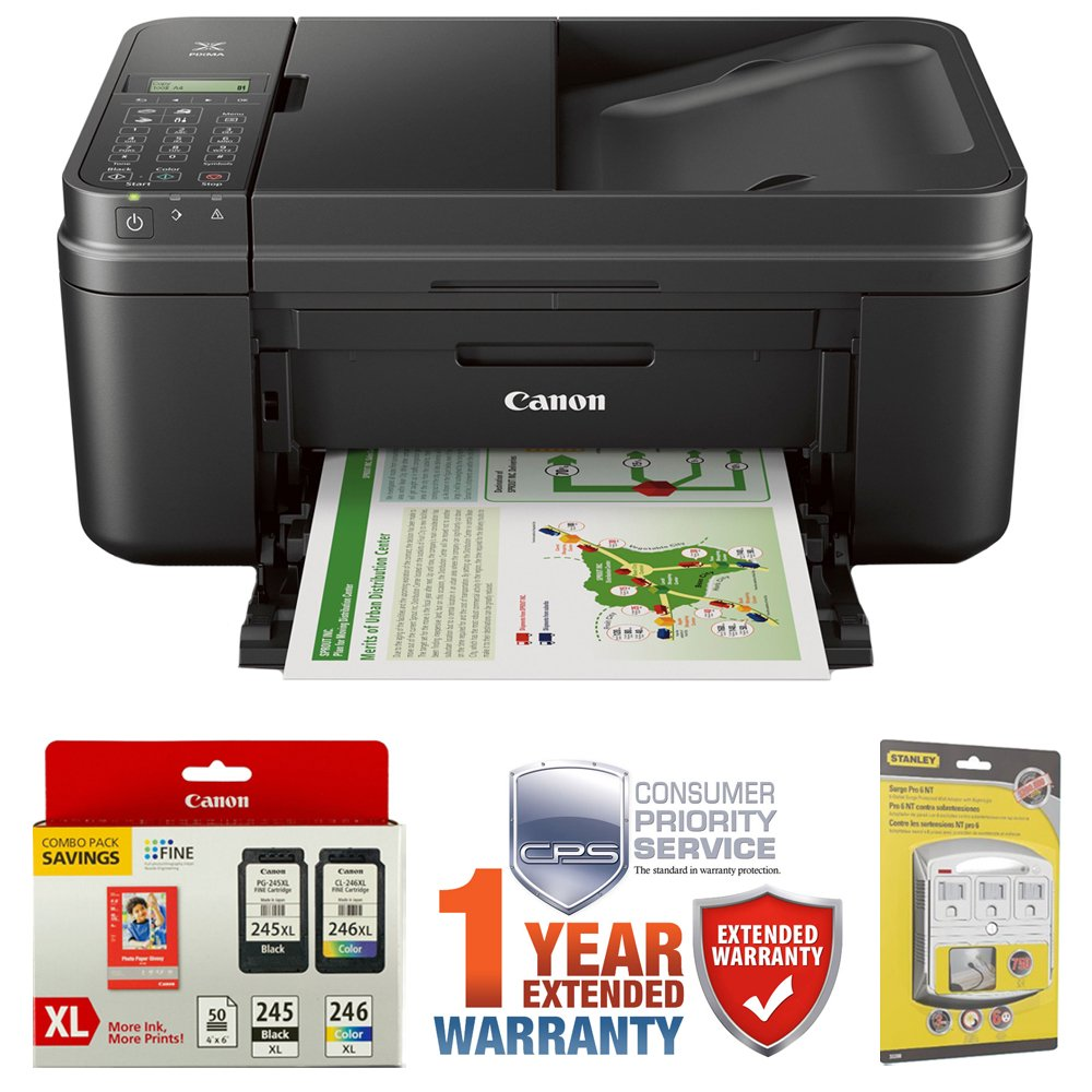 Canon PIXMA MX492 WiFi All-In-One Compact Size Printer (0013C002) w/ Canon Ink Bundle Includes, Genuine Canon Ink Cartridge + Photo Paper Combo Pack, 6-Outlet Surge Adapter & 1 Year Extended Warranty