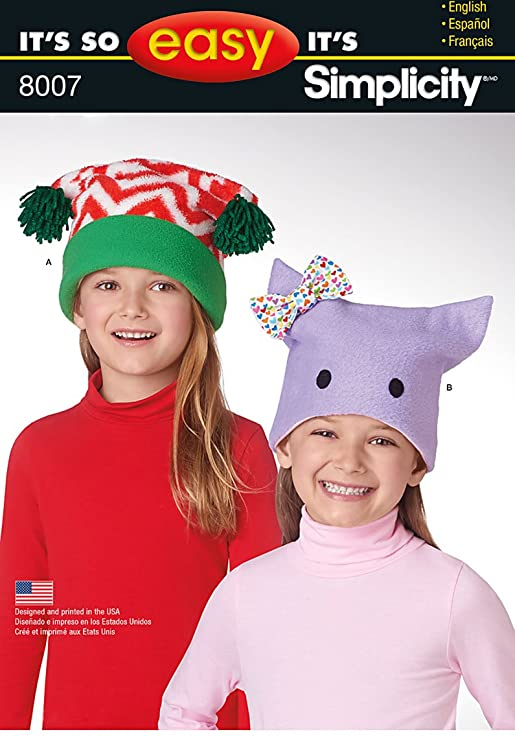 Amazon.com: Simplicity Patterns Childs Its So Easy Fleece Hats Size: A (S-M-L), 8007: Arts, Crafts & Sewing