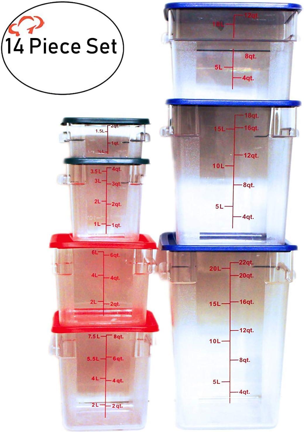 Tiger Chef Food Storage Containers with Lids - 14 Piece Plastic Container Set for Pantry Storage- Commercial Grade in 2 Qt, 4 Qt, 6 Qt, 8 Qt, 12 Qt, 18 Qt & 22 Qt
