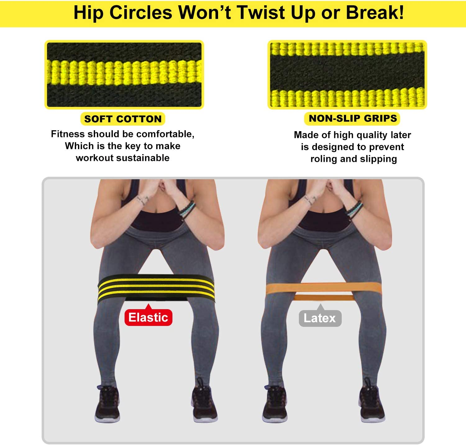 Elastic Fabric Resistance Booty Bands Loop Set of 3 Exercise Workout Gym Fitness