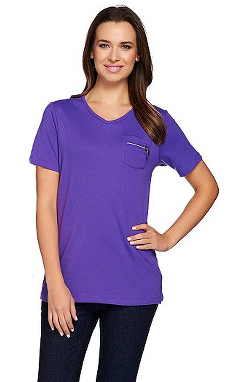 d8a190d566e534 QUACKER FACTORY Womens Short Sleeve Zipper Detail Vneck T-shirts 280476RM  at Amazon Women's Clothing store: