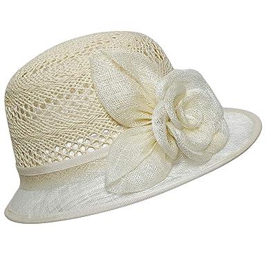 b907ce4cfd6 Chapeau-tendance - Chapeau cloche de cérémonie beige - - Femme ...