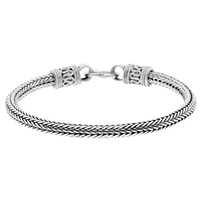 Silverly Womens Mens .925 Sterling Silver Balinese Rope Chain Bracelet, 18.5 cm