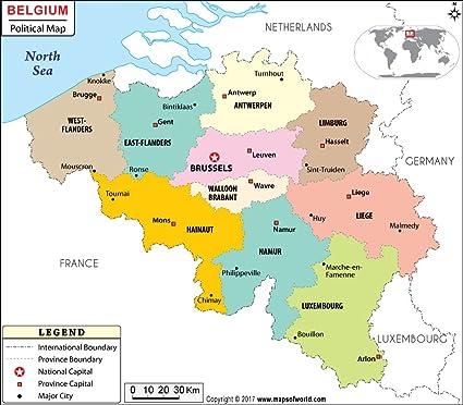 Amazon.com : Belgium Political Map (36\