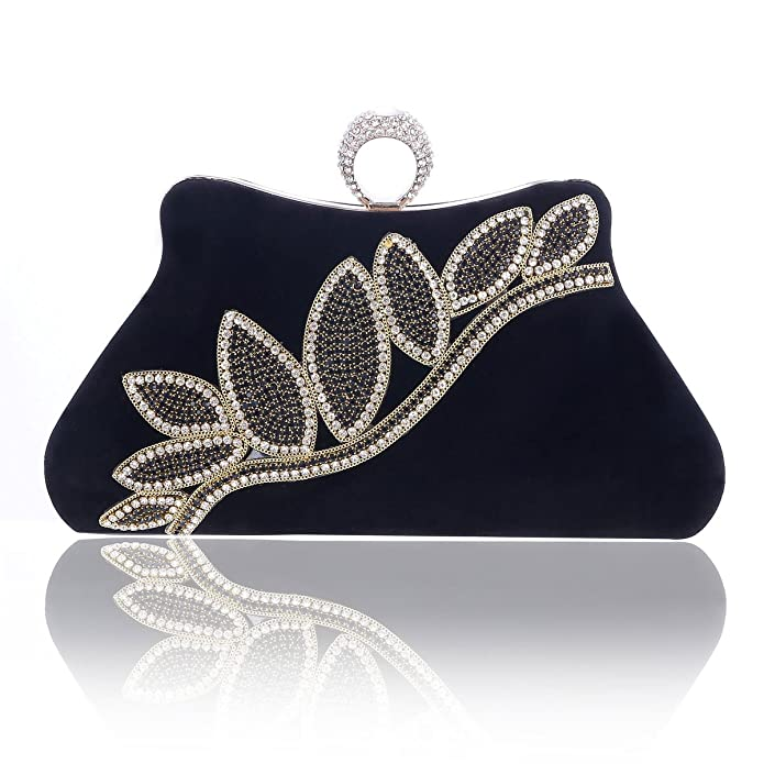 Retro Handbags, Purses, Wallets, Bags Damara Womens Comfort Velvet Glitter Leaf Hardcase Party Clutch $35.99 AT vintagedancer.com