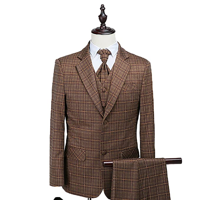 Wilazb Brown Mens Suits Smart Casual Prom Wedding Suits Men Suit