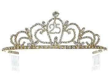 Amazon.com: Samky - Tiara de cristal dorado para cumpleaños ...