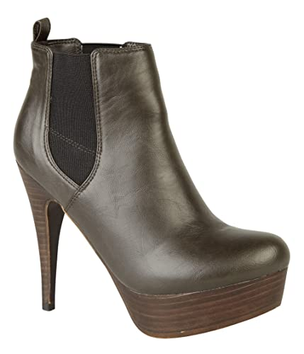 Black and Brown l8628 Ladies Ankle Boots Two Tone with Heel