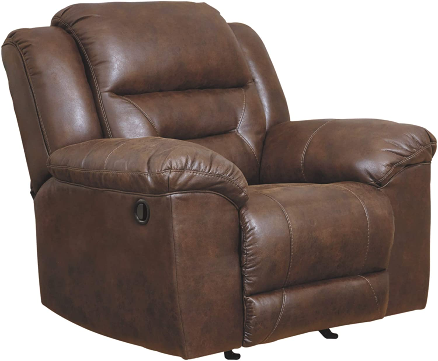 Signature Design by Ashley - Stoneland Contemporary Faux Leather Rocker Recliner, Brown