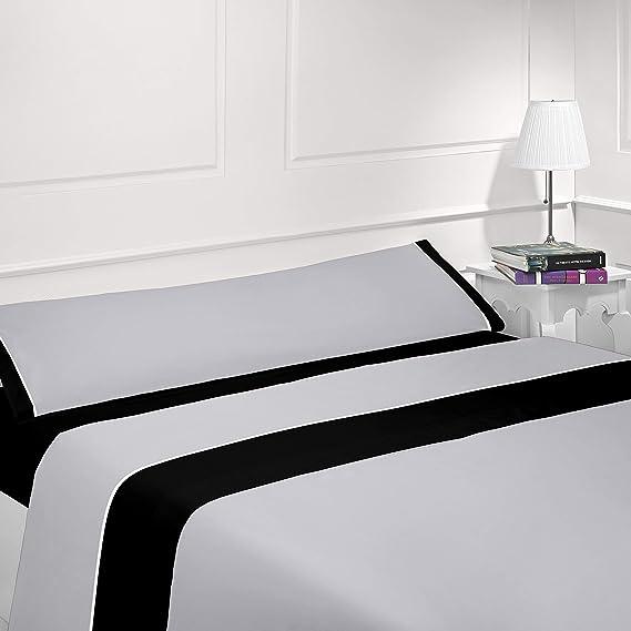 Juego de sábanas lisas - Bicolor - Tres piezas - Tacto seda - Microfibra transpirable (Gris/Negro, 90_x_190/200 cm)