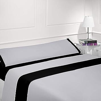 Coflor Juego de sábanas lisas - Bicolor - Tres piezas - Tacto seda - Microfibra transpirable (Gris/Negro, 135_x_190/200 cm): Amazon.es: Hogar