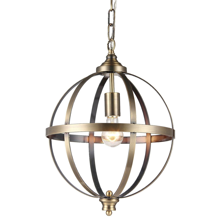 Edvivi 1-Light Brushed Bronze Globe Sphere Orb Pendant Chandelier Ceiling Fixture   Mid-Century Modern Lighting