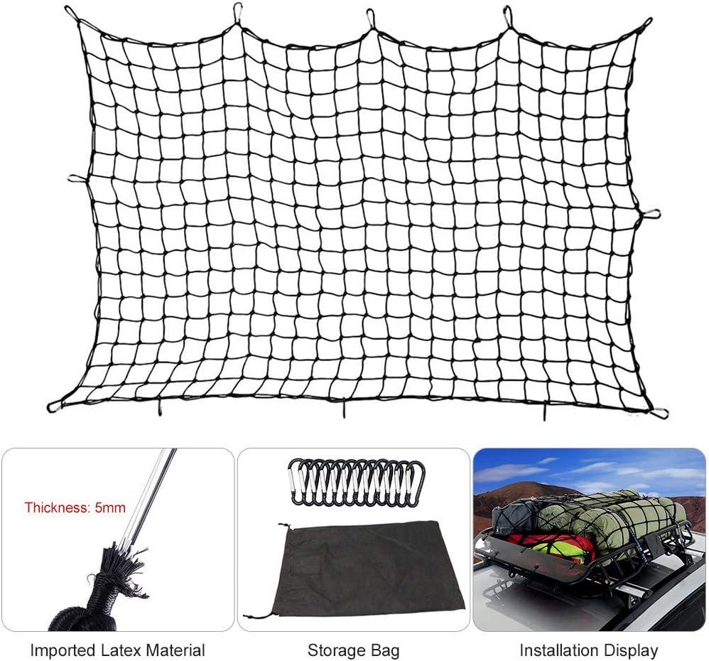 robust elastisch KKmoon 4x 6 Gep/äcknetz Super Stretch f/ür Dachtasche mit 12 Haken verstellbar 180 x 120 cm