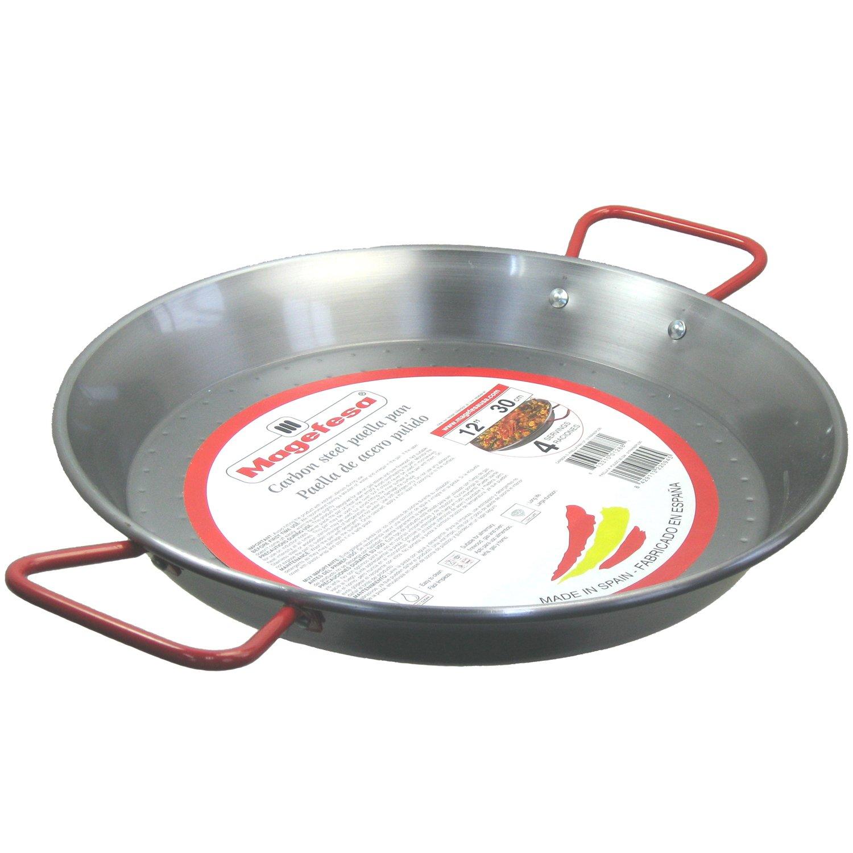 MageFesa Carbon Steel Paella Pan 12''- 4 Servings