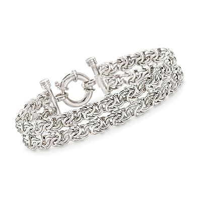 9639a5575608b Amazon.com: Ross-Simons Italian Sterling Silver Two-Strand Byzantine ...