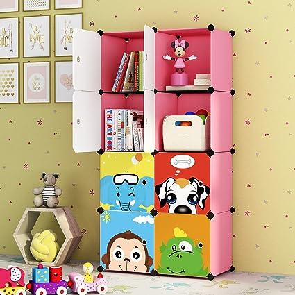 KOUSI Kidsu0027 Toy Storage Organizer Bookcase, 8 Storage Cube Pink