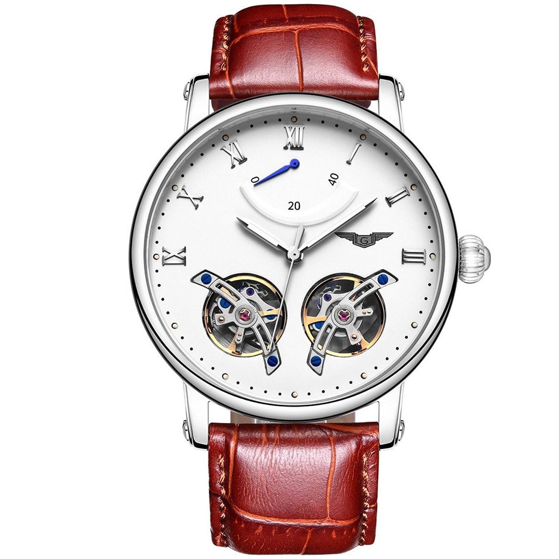 GUANQIN Analog Uhr Herren Automatik Mechanische Edelstahl und Leder Armbanduhr Silber Weiß Braun