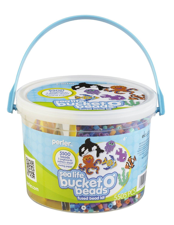 Perler 80-42859 Bucket O' Beads Fun Fusion Fuse Bead Kit-Sea Life Perler Beads