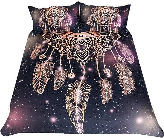 3d negro Atrapasueños ojo mandala colcha juego de cama funda