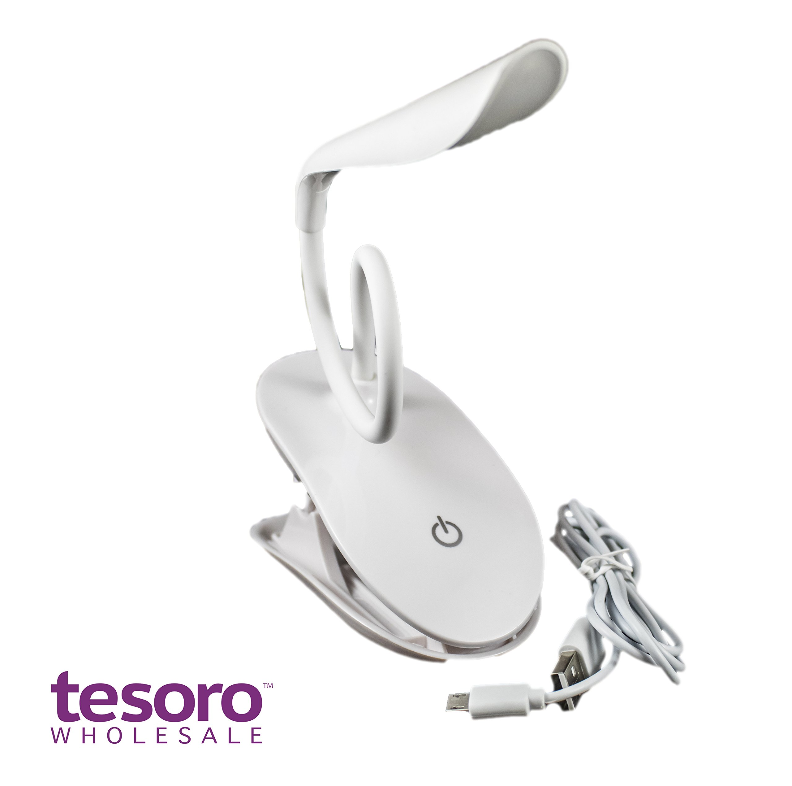 Clip-on Book Light Reading Lamp, Portable Table Light, Adjustable Led Clip Light, Anti Glare Reading Light, USB Rechargeable Computer Desk Lamp, White Daylight Bed Light. by Tesoro Wholesale™ (Image #2)