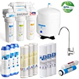KUPPET 50 GPD 5-Stage Under Sink RO Reverse Osmosis Filtration, Healthy Drinking Water Filter System-Plus Extra 8 substitution Filters, Remove Chlorine, Heavy Metals, Fluoride etc, NSF Certi (5-Stage)