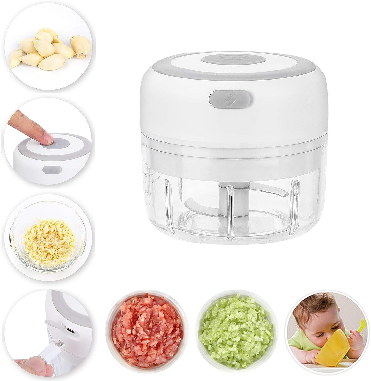 Bestylez Mini Food Processor - Cordless Palm sized Mini Food Chopper for Garlic, Vegetable/Veggie, Onion, Meat - Electric Mini Garlic Chopper (3.5oz/100ml, White)