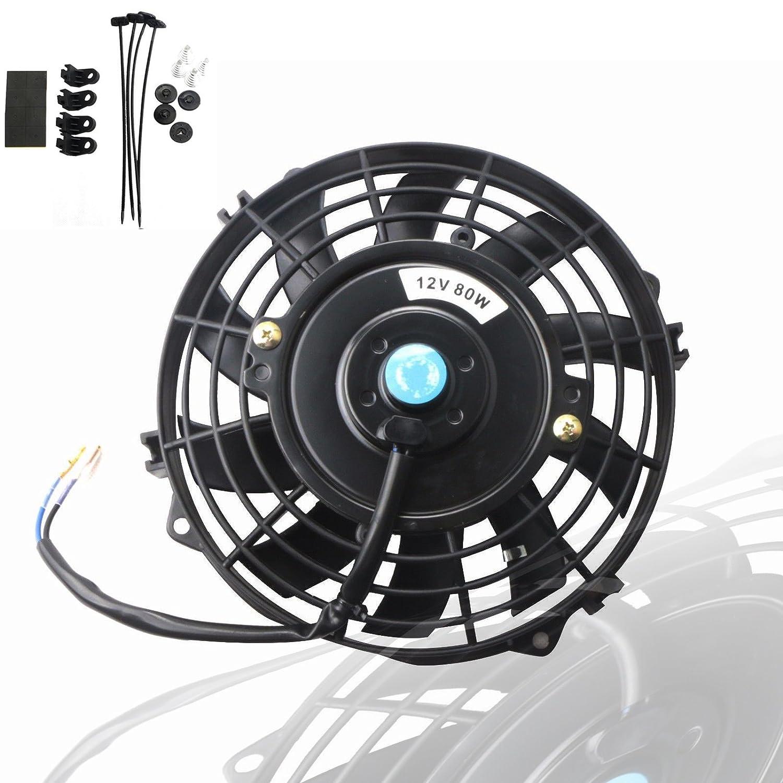 MOSTPLUS Black Universal Electric Radiator Slim Fan Push/Pull 12V + Mounting Kit (7 Inch)