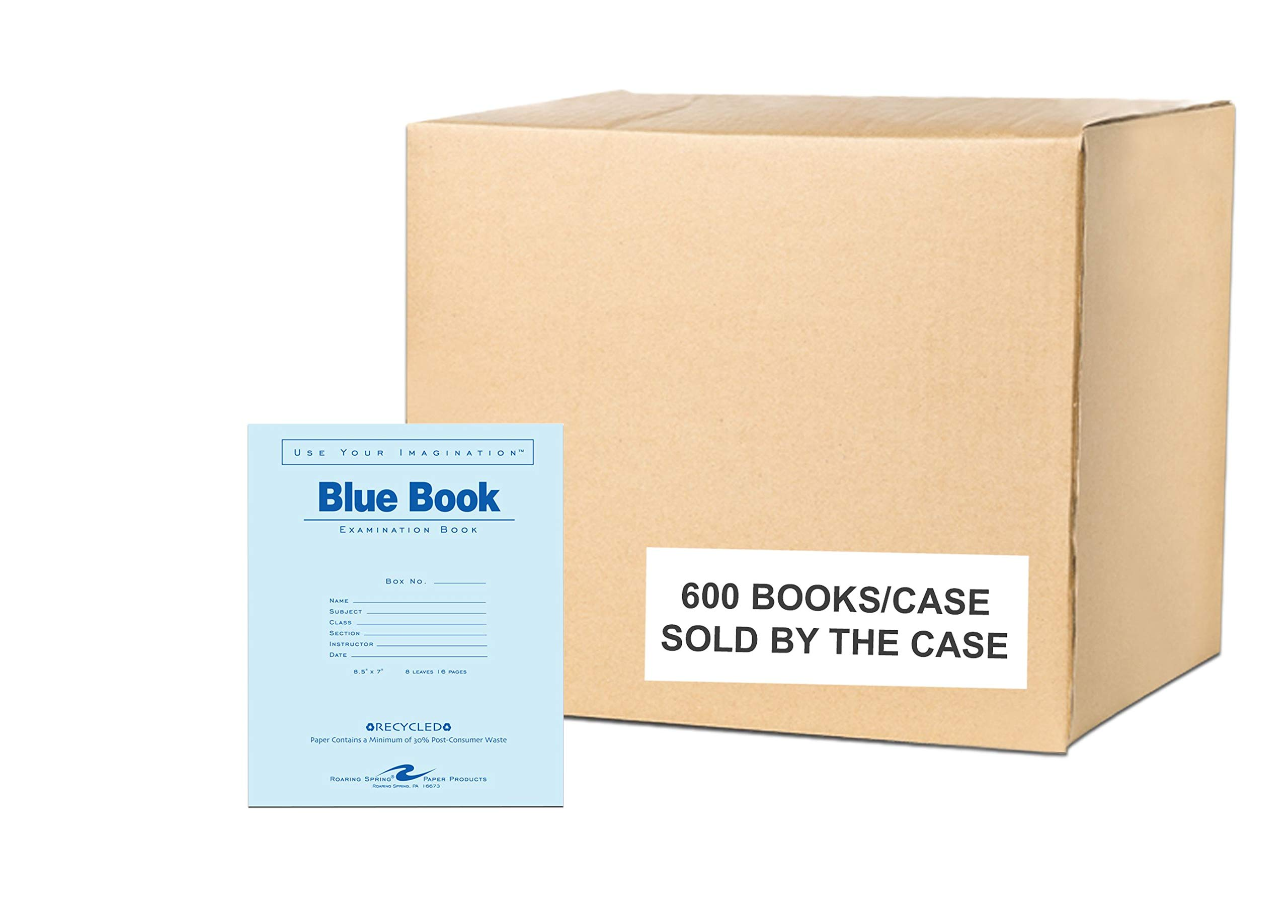 Case of 600 Exam Books, 8.5''x7'', 8 sheets/16 pages of 15# Recycled White Paper, Heavy Recycled Blue Cover, stapled by Roaring Spring