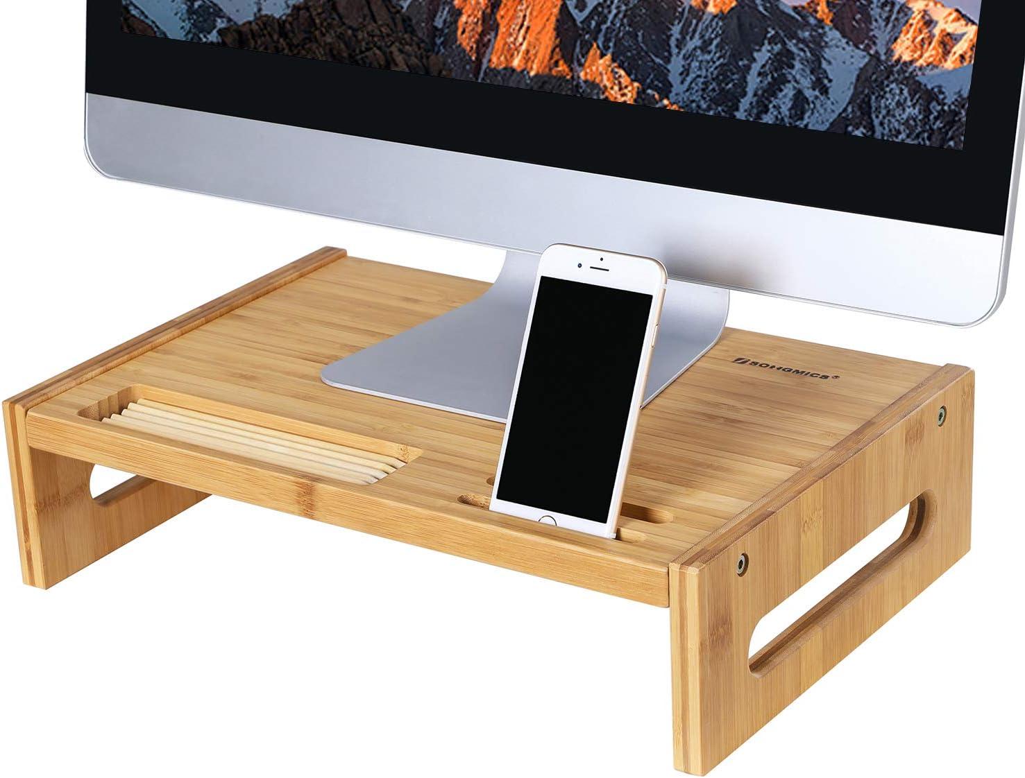 TV PC SONGMICS Supporto per Monitor in bamb/ù Naturale per Scrivania con Vani Portaoggetti per Laptop Lavoro da Casa LLD211WT