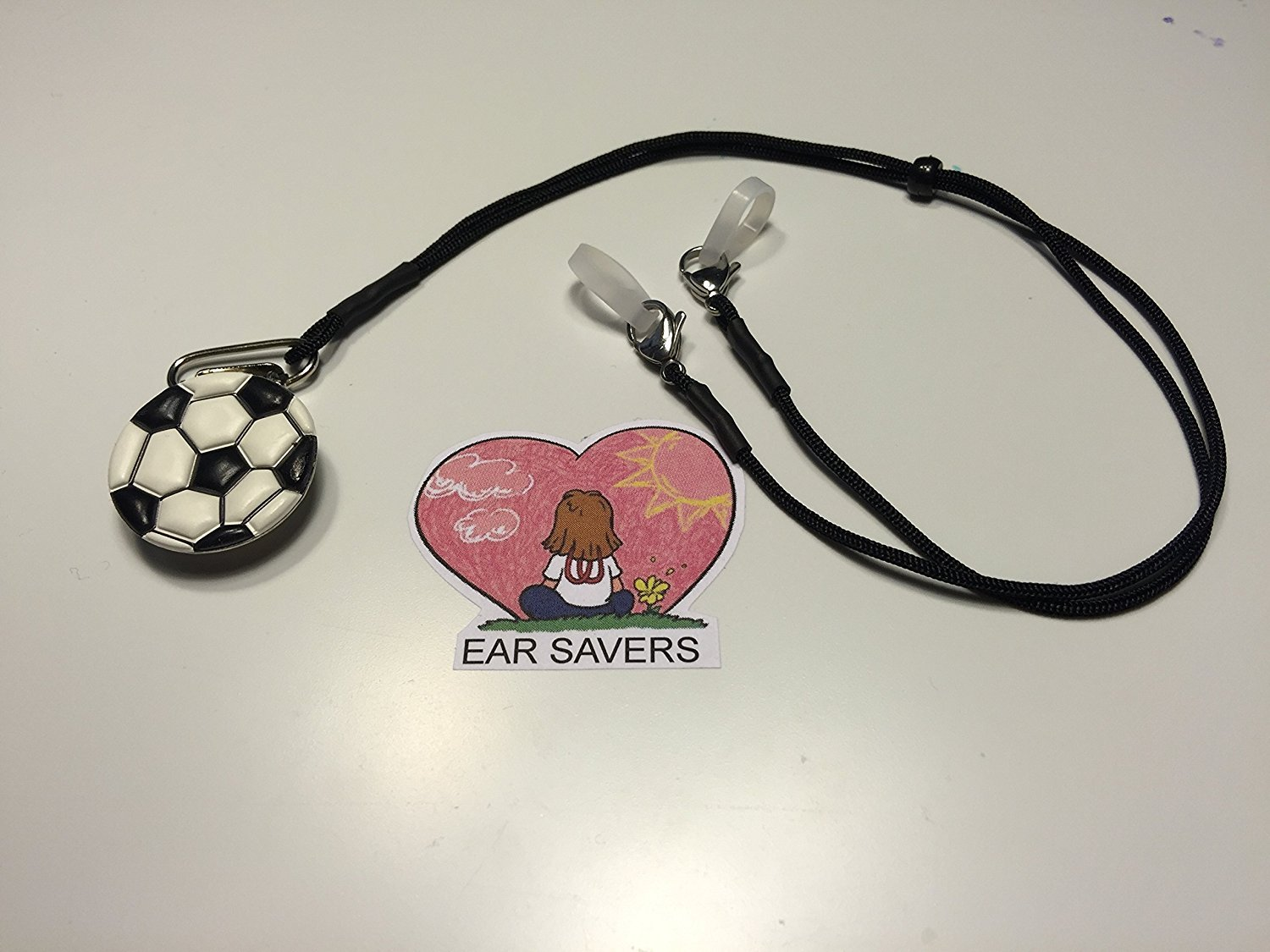 Bilateral Soccer Puffy Lanyard Clip for Hearing Aids or Cochlear Implants