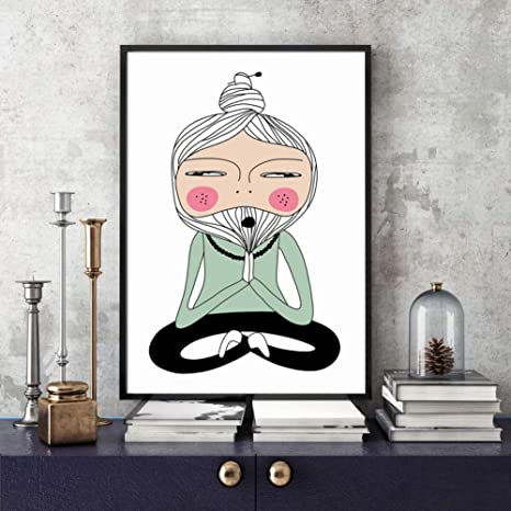 JIYYT Lotus Yoga Pose Meditation Master Wall Art Canvas ...