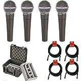 4x Shure SM58 Dynamic Vocal Microphone Pack +XLR Cables + SKB 3I-0907-6BDD Case