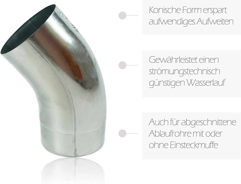 Fallrohrbogen stumpfgeschwei/ßt DN 60 konischer Titanzink Ablaufbogen mit Einsteckfase Zink Regenrohrbogen 60 mm mit 40 Grad