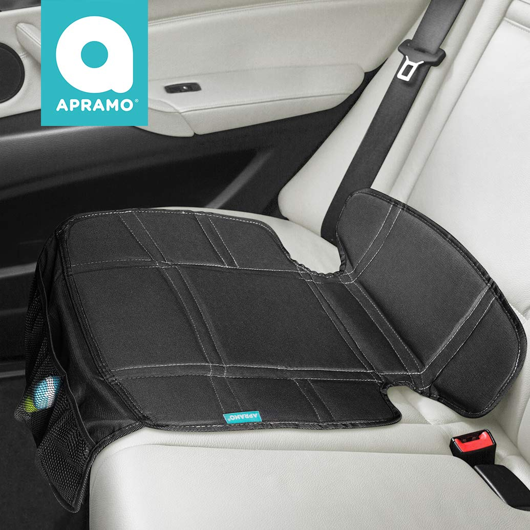 APRAMO Baby Seat Protector ISOFIX Compatible Upholstery Padded Cover, Dog Mats, Thick Protection Pad Mesh Storage Pockets, Non-slip Back Universal Duty Stain Protection