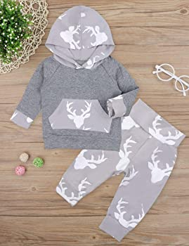 DIGOOD Toddler Baby Boys Girls 2Pcs Outfits Autumn Winter Clothes,Plaid Pocket Hoodie Tops+Pants,for 0-24 Months Kids