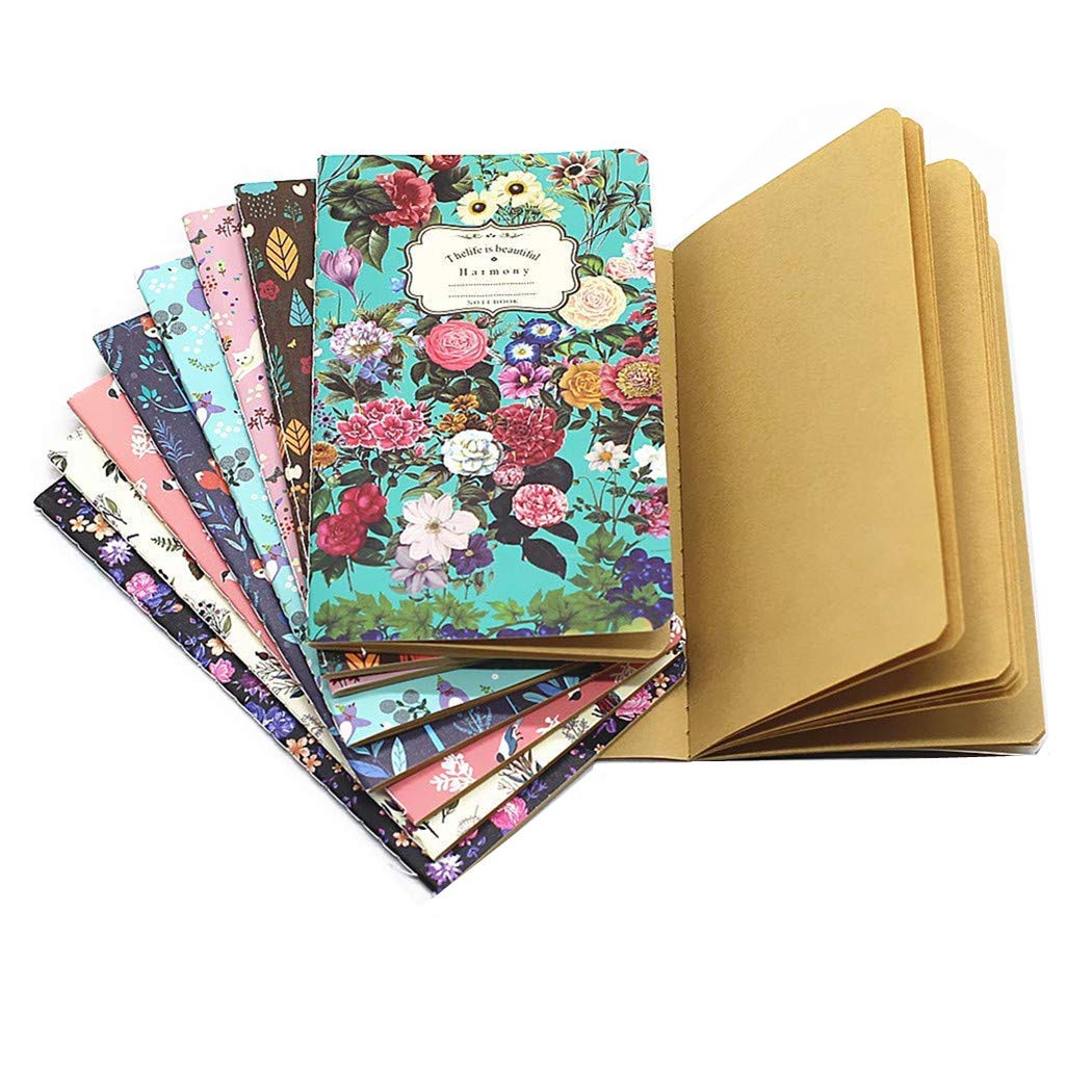 TANG SONG 9PCS Color Series Softcover Kraft Paper Notebook Journal Diary Set 9 Unique Design pack-40 Sheets (3.8''x6.6''/ LxW)