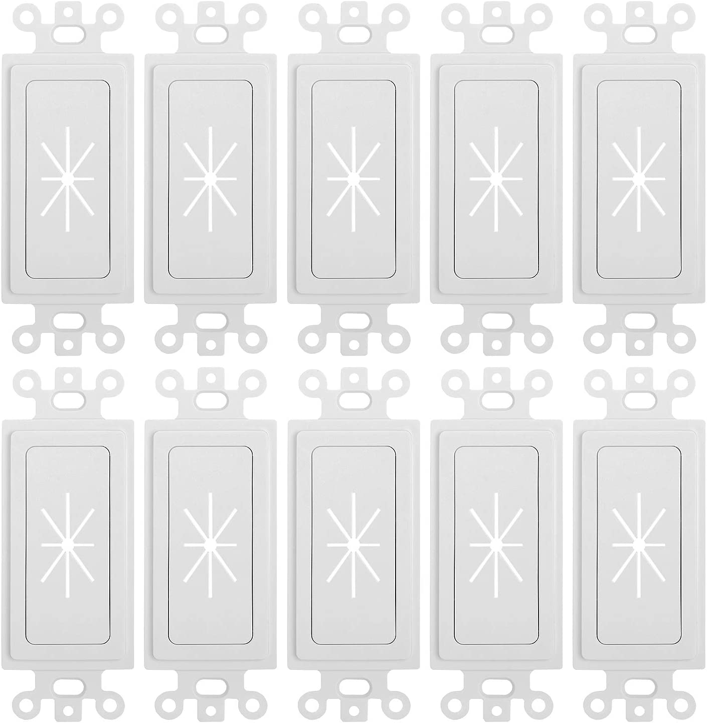 Cmple - Decora Wall Plate 1-Gang Insert with Flexible Opening Single Gang Decor Wall Plate - White - (10 Pack)