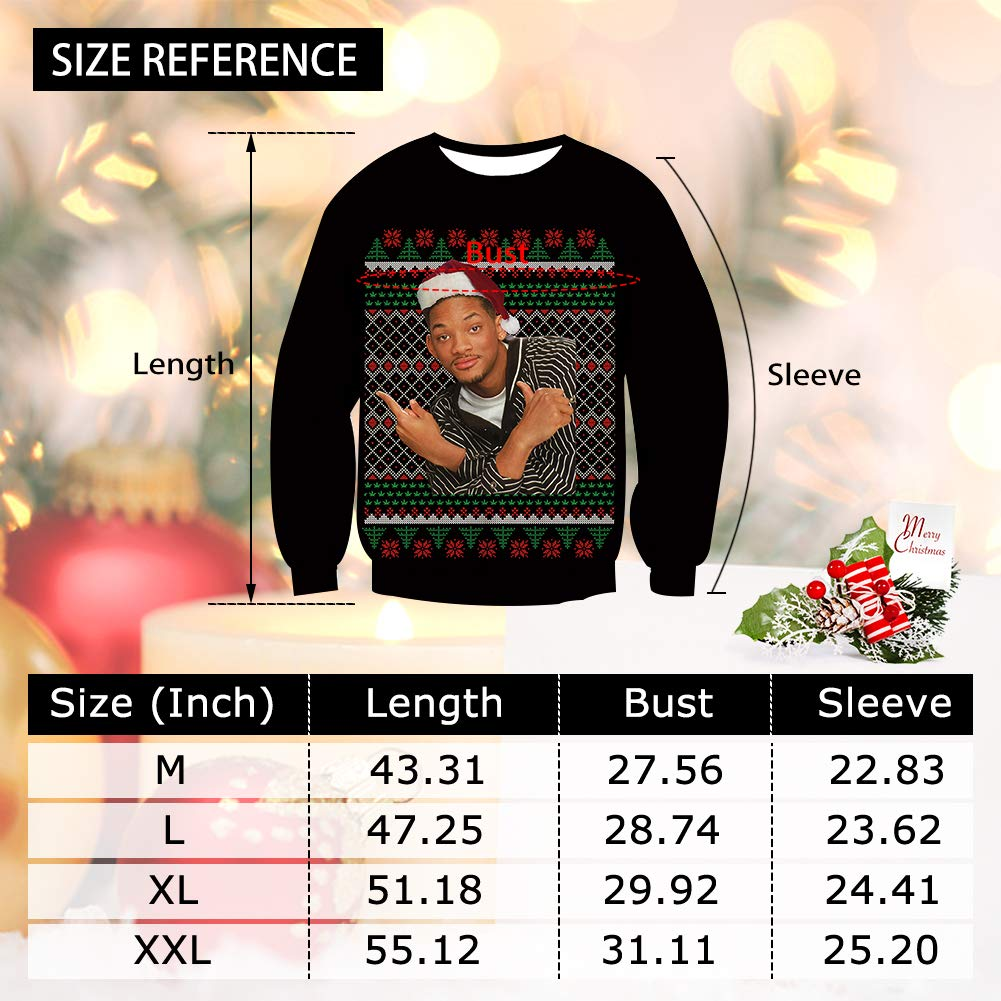 Pemela Youth Boys Ugly Christmas Sweatshirt Comfy Fleece Sweater Long Sleeve Crewneck Casual Pullover Streetwear Jumpers for Xmas Party Black L