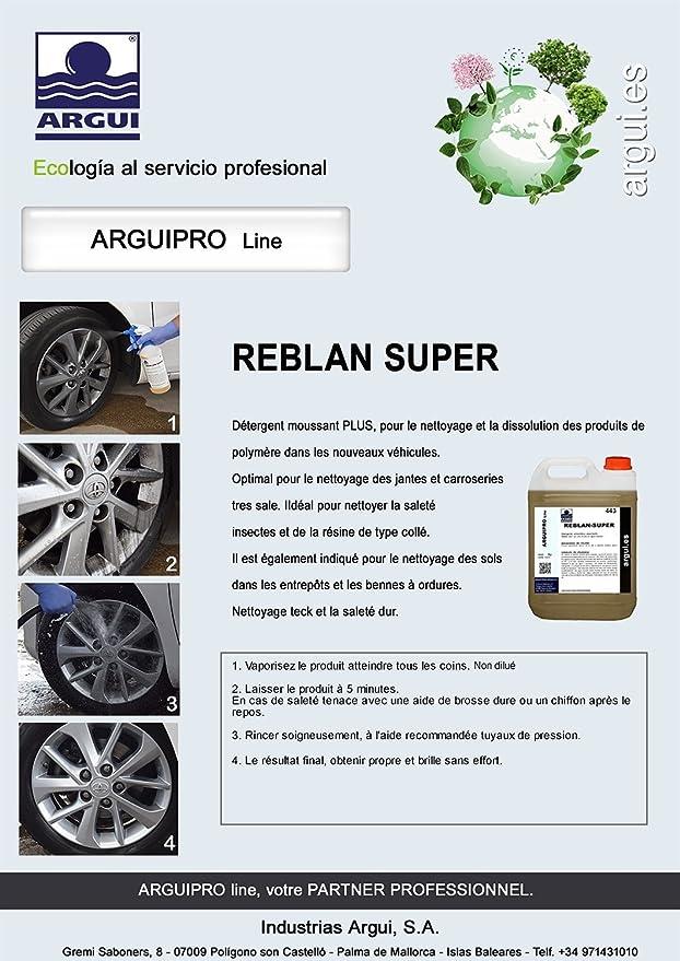 ARGUIPRO Line REBLAN SÚPER 5 litros. Limpia Llantas Profesional SIN ÁCIDO Ultra-Concentrado. SIN Frotar