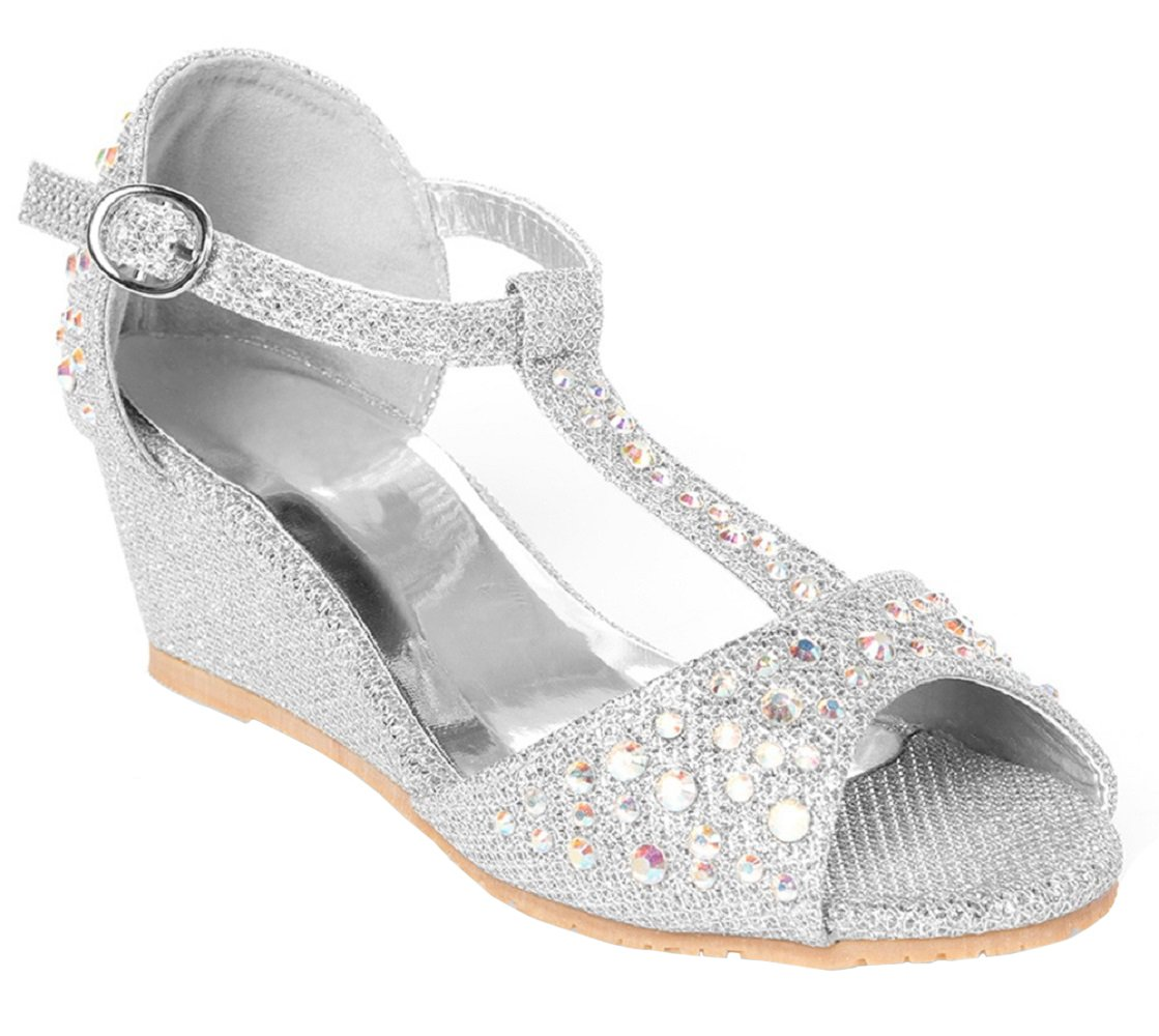 OLIVIA K Girls Glitter And Rhinestone Open Toe Wedge Heel
