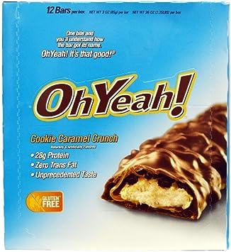ISS Research Barra de proteina Oh Yeah, chocolatina de caramelo crujiente, 12x85 g (1 paquete de 1,02 kg)