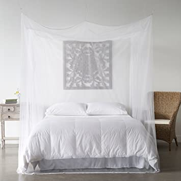 Mosquito Net Bed Canopy - Bug Screen Repellant - Rectangle Curtains for Twin Full & Amazon.com: Mosquito Net Bed Canopy - Bug Screen Repellant ...