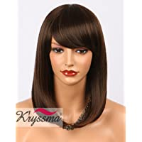 K'ryssma Fashion Brown Short Bob Wig with Highlights Glueles Synthetic Wigs For Women Daily Wear None Lace Wig with Bangs 14 Inch